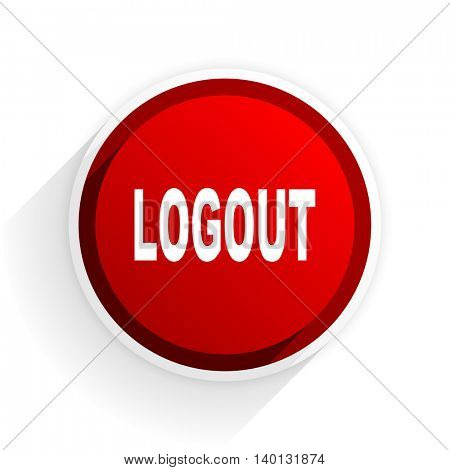 logout flat icon with shadow on white background, red modern design web element
