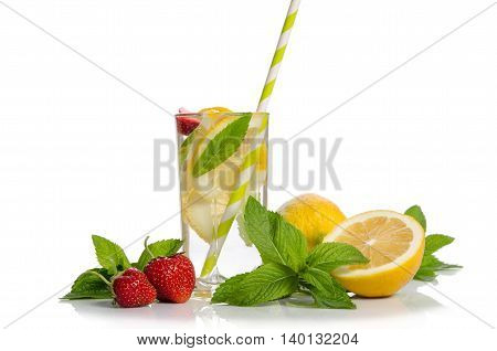 Summer lemonade . Lemon and mint strawberry on the table