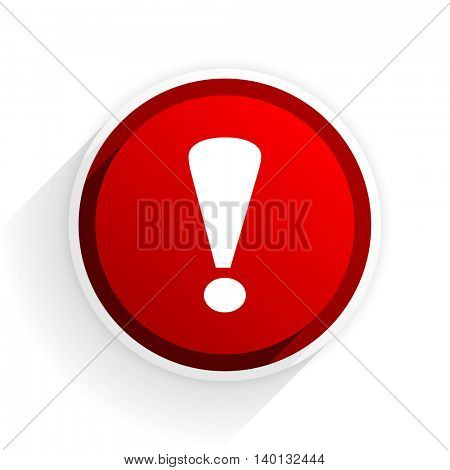 exclamation sign flat icon with shadow on white background, red modern design web element