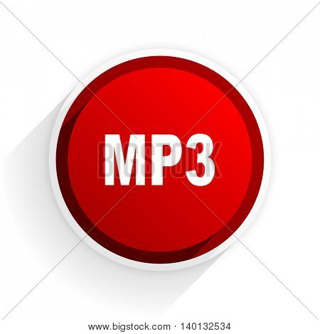 mp3 flat icon with shadow on white background, red modern design web element