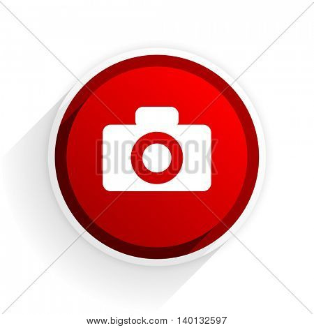 camera flat icon with shadow on white background, red modern design web element