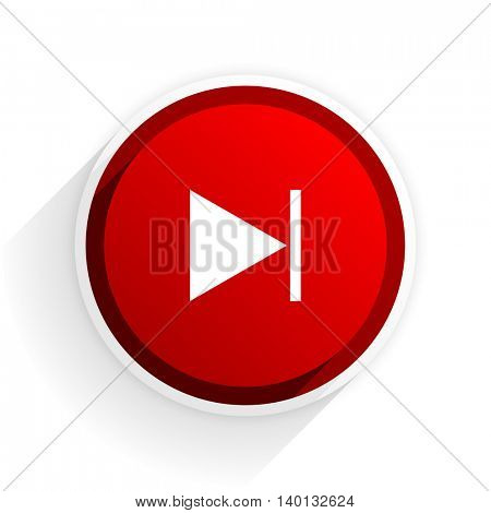 next flat icon with shadow on white background, red modern design web element