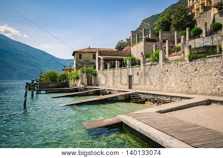 Old pier on Lake Garda in Limone del Garda.