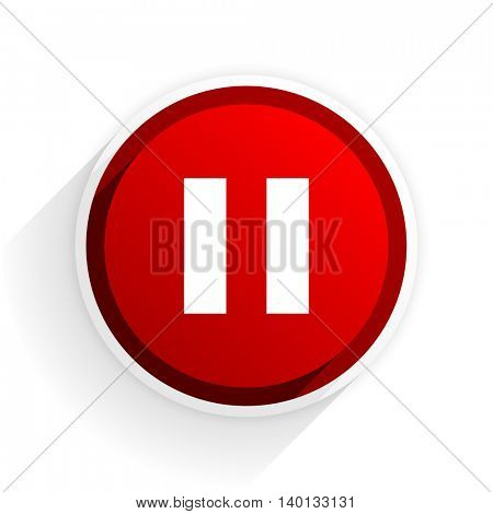 pause flat icon with shadow on white background, red modern design web element