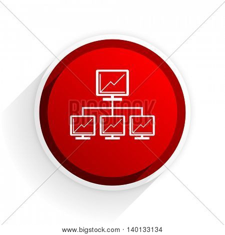 network flat icon with shadow on white background, red modern design web element