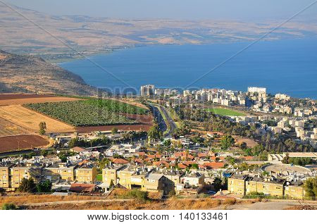 Tiberius city and the sea of Galilee ( Lake Kinneret) - sweet water lake, one of the most  popular  christian attractions of Israel.