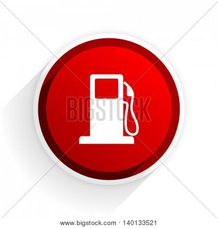 petrol flat icon with shadow on white background, red modern design web element