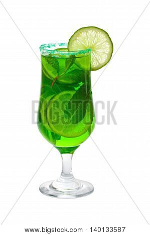 Green Vodka Drink Isolated on white background. Selective focus.
