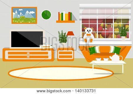 The interior of the living room, bright orange color, furniture, plant, equipment, clock, Cup, kettle, tea, Teddy bear, vector illustration