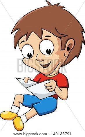 A boy reads a book. Cartoon illustration, isolated object.
