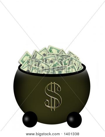 Pot Full Of Money With Dollar Sign