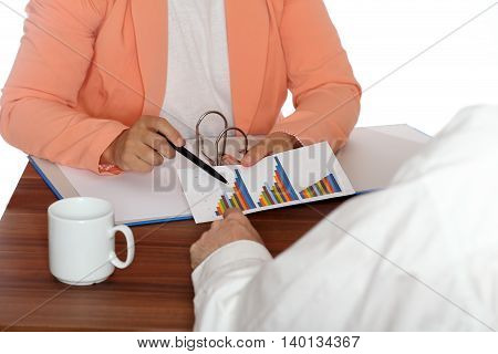 meeting with two business people in office