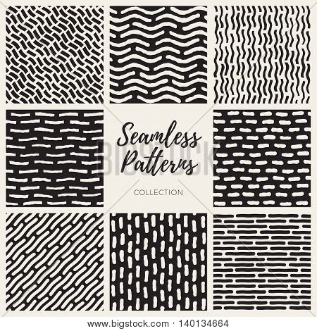Set of Eight Vector Seamless Black and White Hand Drawn Lines Patterns Collection. Abstract Geometric Background Design