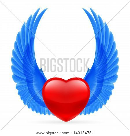 Red heart with bright blue wings up.