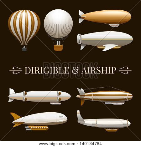 Set of icons with different types of balloons and airships vector illustration