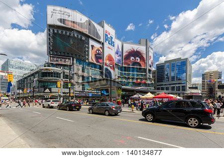 TORONTO - 2 July 2016: Yonge- Dunda Square is considered as Toronto's Times Square.