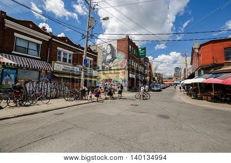 Toronto Canada - 2 July 2016: Kensington Avenue and Kensigton market in Toronto Canada.
