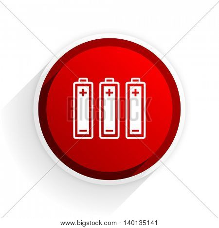 battery flat icon with shadow on white background, red modern design web element