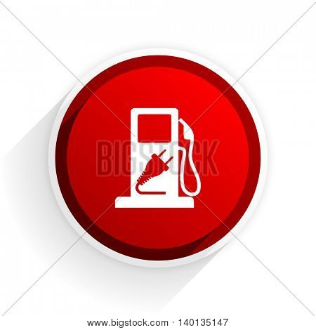 fuel flat icon with shadow on white background, red modern design web element