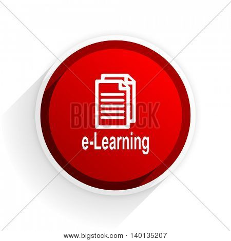 learning flat icon with shadow on white background, red modern design web element