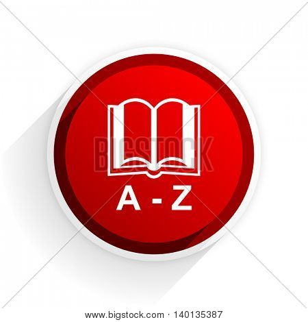 dictionary flat icon with shadow on white background, red modern design web element