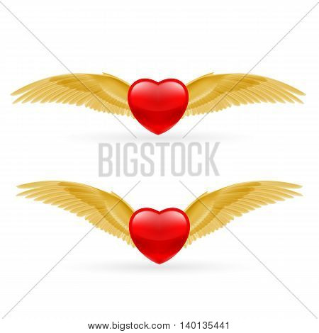 Two red hearts with golden yellow rwings.