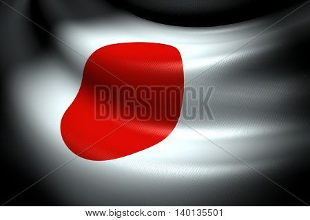 3D illustration of Flag of Japan in the dark with brightness spot