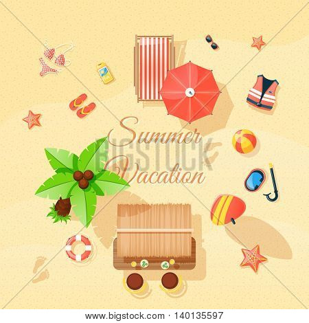 Summer vacation beach accessories composition top view poster with  swimming suit palm thongs and snorkel abstract vector illustration