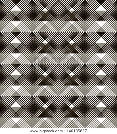Abstract seamless geometric black and white pattern. Small lattice of intersecting lines with translucent horizontal wide stripes. Vector illustration for fabric, paper and other