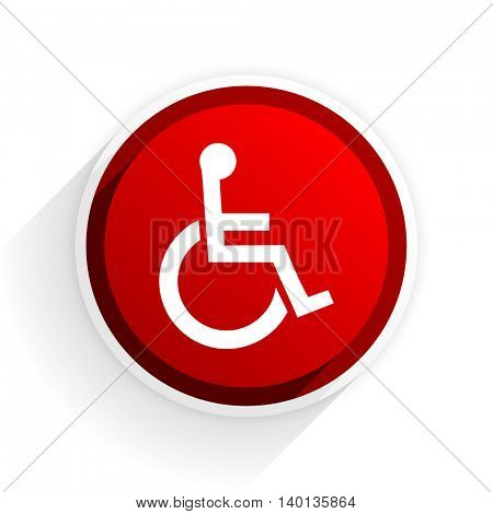 wheelchair flat icon with shadow on white background, red modern design web element