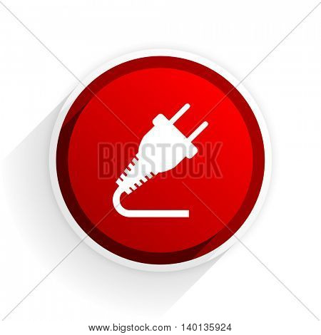 plug flat icon with shadow on white background, red modern design web element