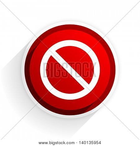 access denied flat icon with shadow on white background, red modern design web element