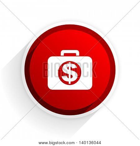 financial flat icon with shadow on white background, red modern design web element