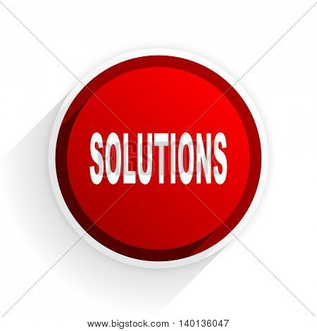 solutions flat icon with shadow on white background, red modern design web element