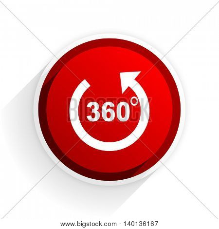 panorama flat icon with shadow on white background, red modern design web element