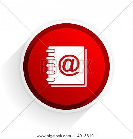 address book flat icon with shadow on white background, red modern design web element