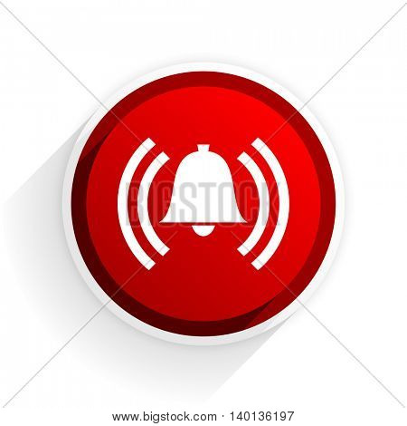 alarm flat icon with shadow on white background, red modern design web element
