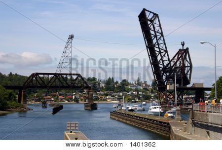 Draw Rail Bridge In Seattle