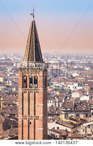 Detail of the bell tower of the Santa Anastasia church in Verona Italy. Verona is a popular tourist destination of Europe.