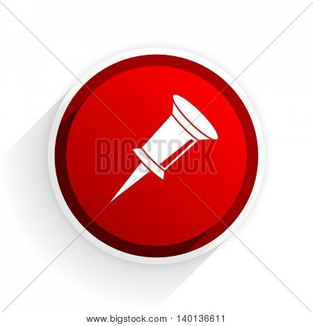 pin flat icon with shadow on white background, red modern design web element