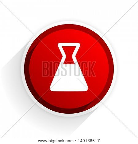 laboratory flat icon with shadow on white background, red modern design web element