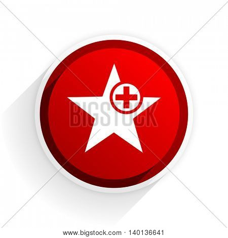 star flat icon with shadow on white background, red modern design web element