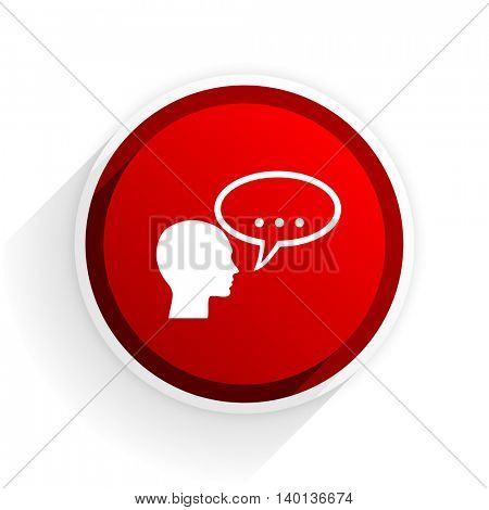 forum flat icon with shadow on white background, red modern design web element