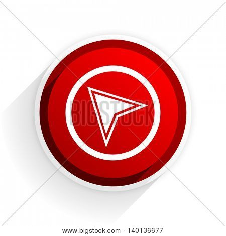navigation flat icon with shadow on white background, red modern design web element