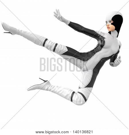 one teenage girl in a white dark super suit. The girl stabs a leg in flight in a combat pose. Side view. 3D rendering, 3D illustration