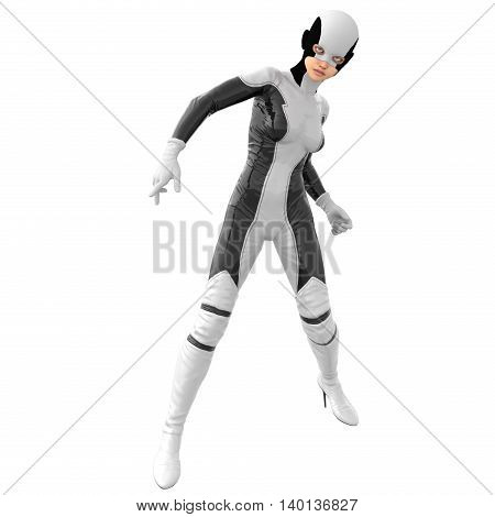one teenage girl in a white dark super suit. The girl is turned to the camera. Legs wide apart. Standing in the waiting pose. 3D rendering, 3D illustration