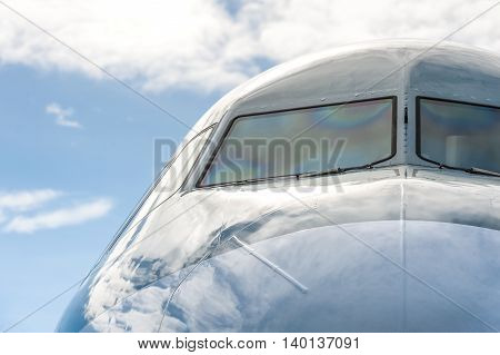 close-up of a large passenger jet windshield
