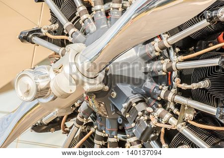 close-up of a vintage aircraft propeller engine