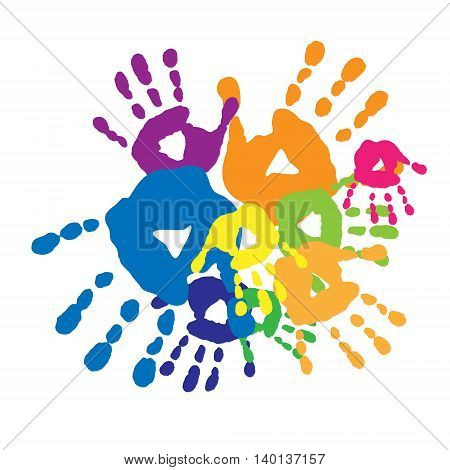 The cute abstract background with a handprints