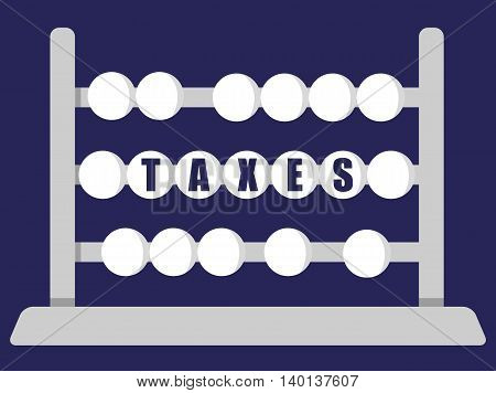 Stylized abacus with the word Taxes in blue text on the middle row of beads